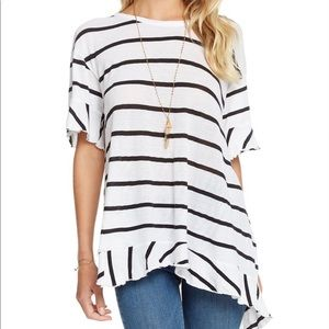 Chaser Striped Ruffle Tulip Back Jersey Top